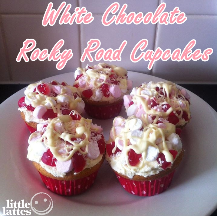 white choc rocky road cupcakes with logo title